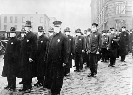 Policemen in masks, San Francisco, 1918